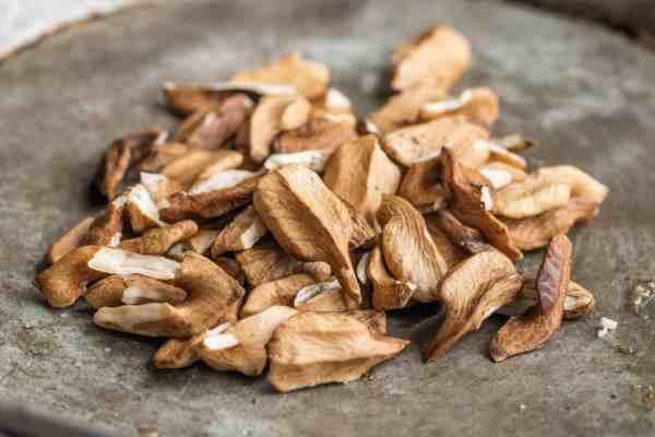 Shelled butternuts or white walnuts, Juglans cinerea
