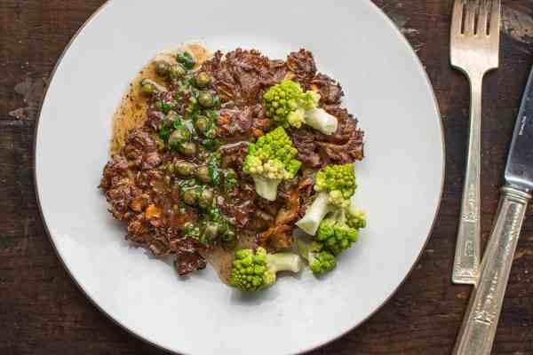 Cauliflower mushroom steak recipe with caper pan sauce and romanesco