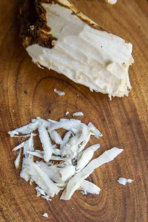Grating fresh horseradish
