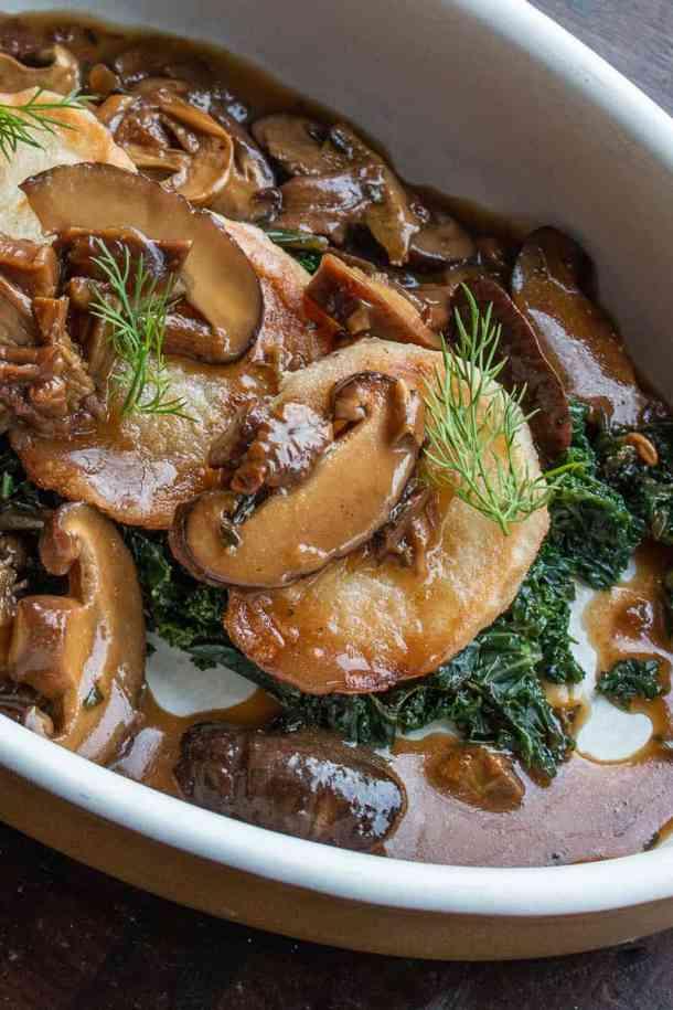 Daikon radish recipe with mushrooms and kale
