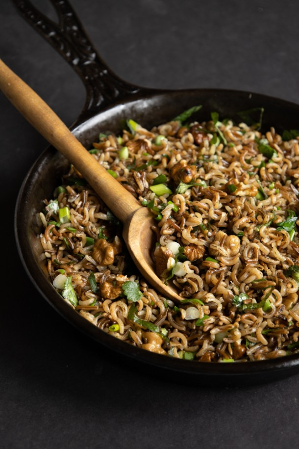 Wild Rice with black walnuts and creeping charlie