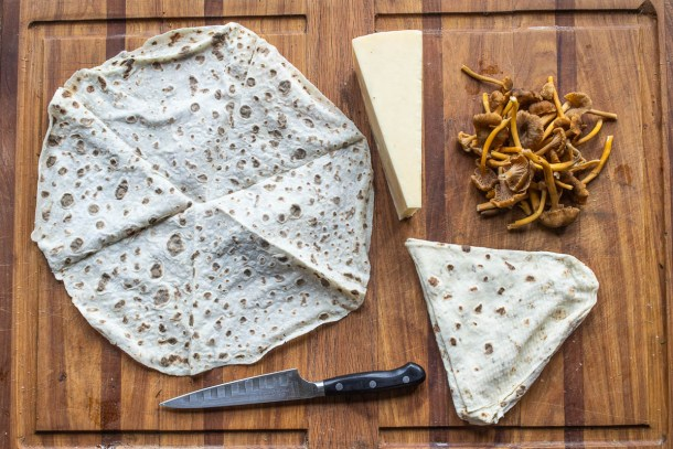 Lefse with yellowfoot chanterelles sauerkraut and swedish cheese(16)
