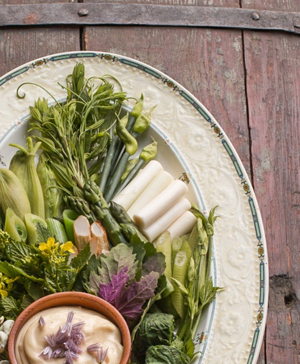 Cattail shoots, cow parsnip blossoms, asparagus, smilax and raw vegetables with lemon aioli