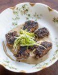 Blackened Venison Backstrap Tips with Balsamic Blue Sauce