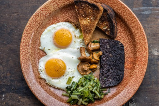 Blood Sausage Cake with eggs and mushrooms