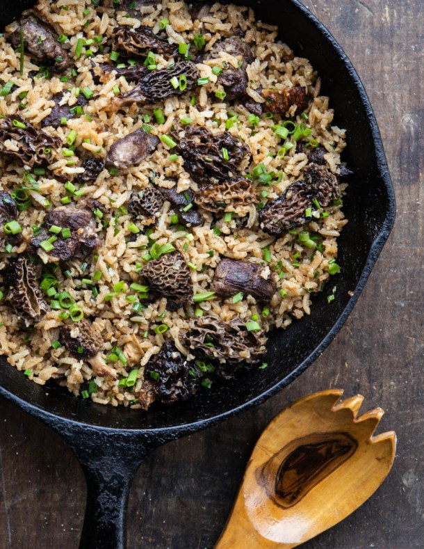 Dried morel and venison pilaf