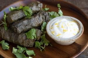 Vegetarian stuffed grape leaves with mushrooms, wild rice and walnuts