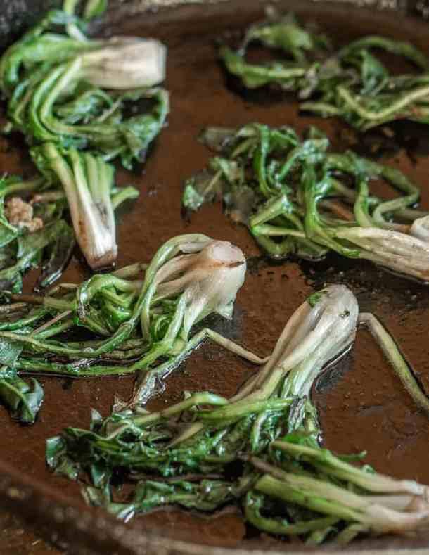 Cooking dandelion crowns