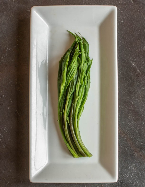 Cooked edible goldenrod shoots