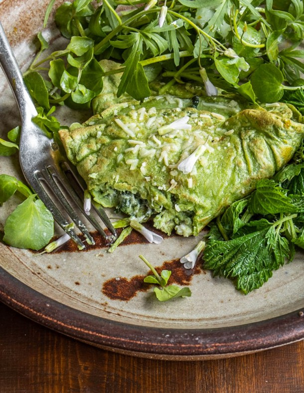 Nettle crespelle with steamed nettles and a foraged greens salad