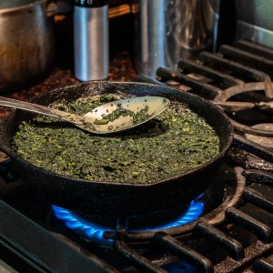 Making a stinging nettle frittata