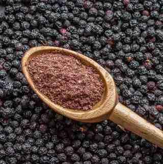 Bird cherry flour made from dried wild black cherries
