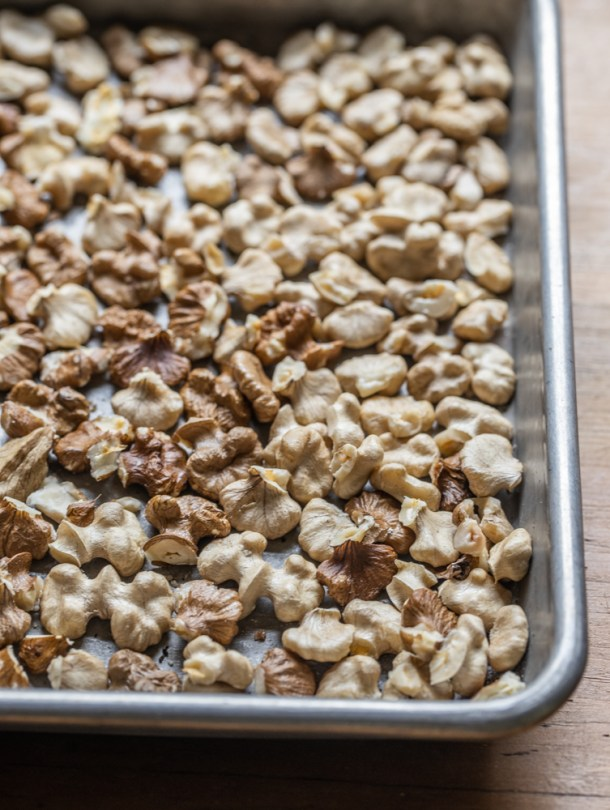 Freshly cracked black walnuts