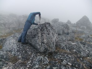 Anders sampling erratic boulders for 10Be near Paamiut, southwestern Greenland