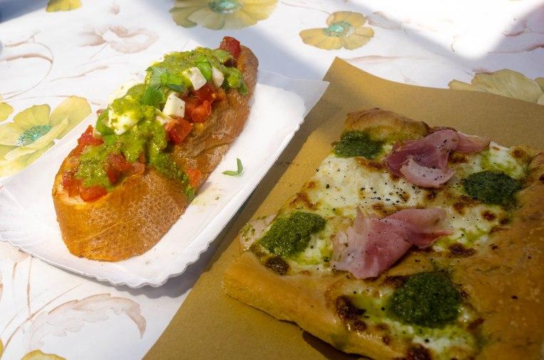 Brushetta w/ Pesto & Pesto Pizza
