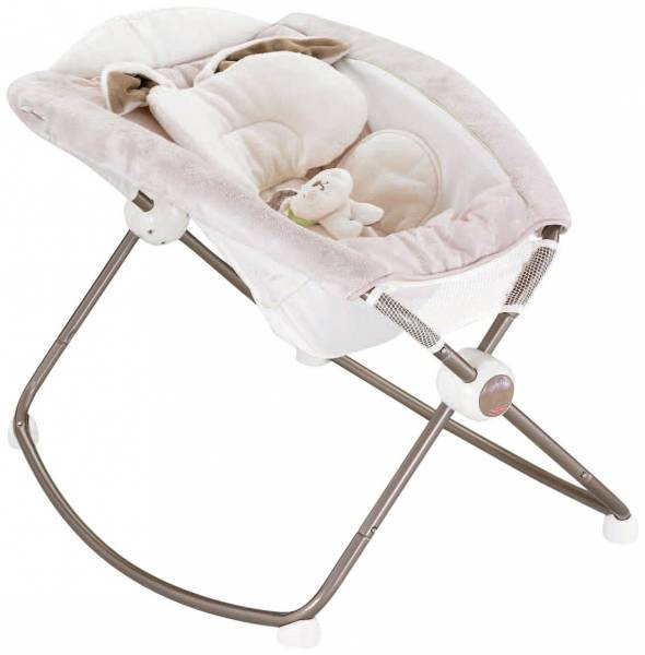 FISHER-PRICE BABY GEAR BRINGS YOU MY LITTLE SNUGABUNNY DELUXE NEWBORN ROCK 'N PLAY SLEEPER