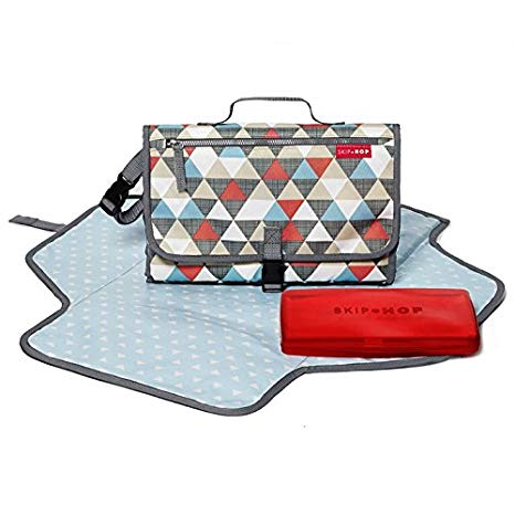 Pronto Signature Portable Changing Mat, Cushioned Diaper Changing Pad with Built-In Pillow, Triangles