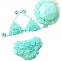 Bywen Girls Swimwear Bikini with Hat Set of 3
