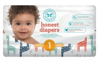 Honest Baby Diapers, Multi Colored Giraffes, Size 1, 176 Count