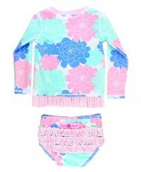 RuffleButts Infant/Toddler Girls Long Sleeve UPF 50+ Rash Guard Bikini...