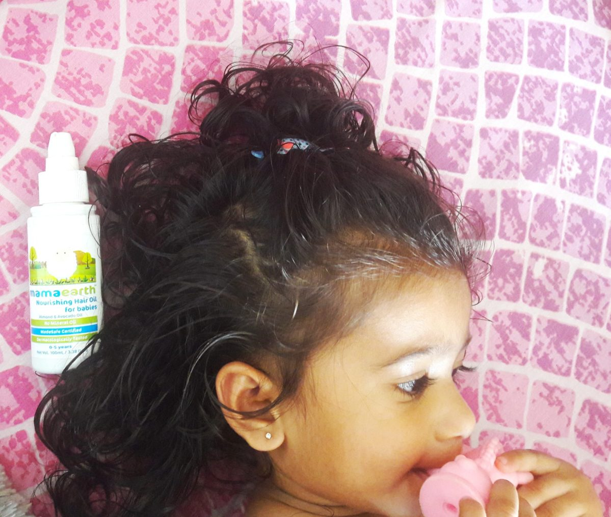 Healthy hair with mamaearth baby hair oil.