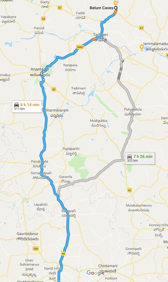 Belum caves to Bangalore