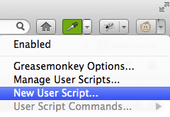 Create a new GreaseMonkey script