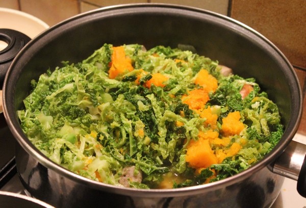 Meanwhile check on your Kale and Pumpkin Stew / Add the Kale