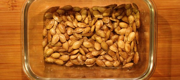 Pumpkin seeds in a dish