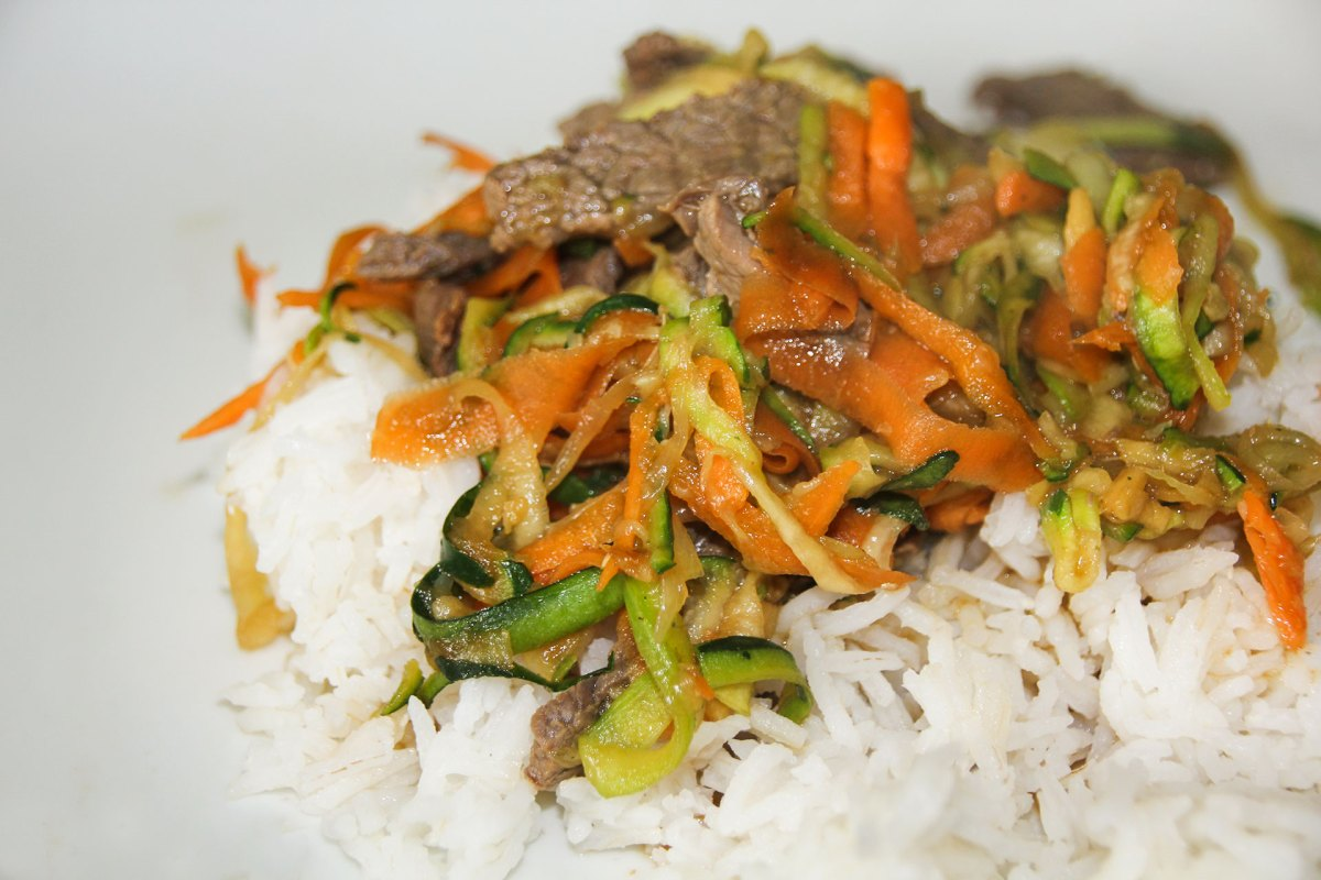 Teriyaki Beef stir fry on a bed of rice