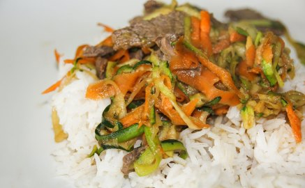 Teriyaki Beef stir fry on a bed of rice