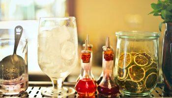 Ginebra mezcla limón vaso copa