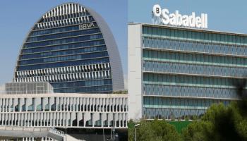 Fusión BBVA y Sabadell. La Vela, el edificio de Ciudad BBVA, en Madrid, y el Centro corporativo San Cugat del Vallés de Banco Sabadell.