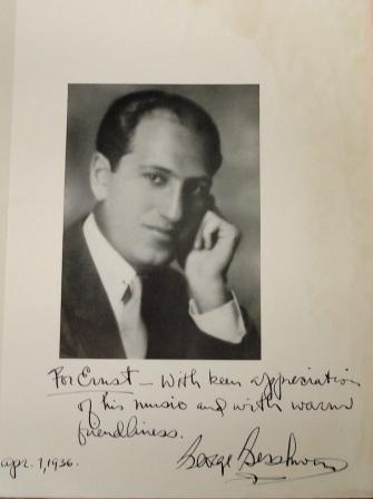 'In friendship' George Gershwin to Ernst Toch