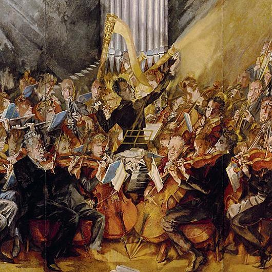 Max Oppenheimer's painting of Gustav Mahler and the Vienna Philharmonic, 1935