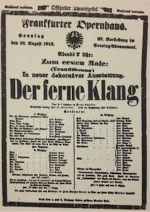 Playbill for the premiere of 'Der ferne Klang'