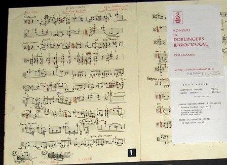 Manuscript of Wellesz's final work, the 'Präludium für Solo Viola', along with programme of first performance
