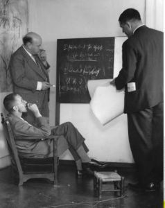 Production meeting with Brecht, Eisler and Slátan Dudow