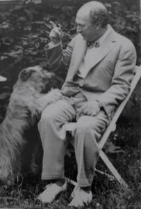 Schreker and one of his many pet dogs