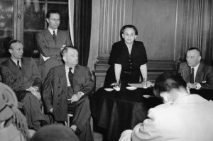 Ruth Fischer holding an anti-Stalinist lecture in 1951