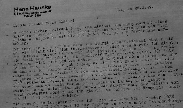 Hausker's letter to Hanns Eisler