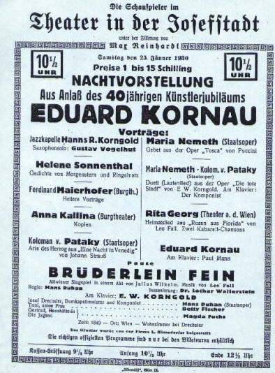 A gala evening with Eduard Kornau at Vienna's prestigious Theatre in Josefstadt, one of Max Reinhardt's theatrical homes