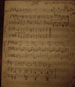 Korngold's manuscript to 'Gold' as shown to Gustav Mahler
