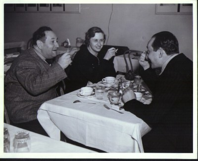 Korngold, Luzi and Henry Blanke (originally Hienz Blanke from Steglitz, Berlin) in Warner's 'Green Room' the canteen for artists, actors and directors