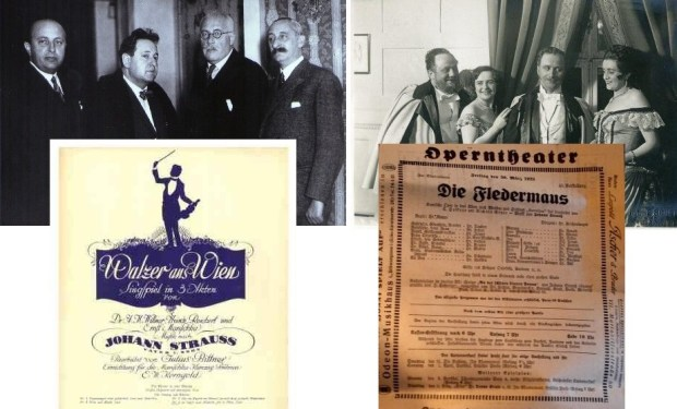 'The Great Waltz' or 'Walzer aus Wien': Marischka Brothers with Korngold and Julius Bittner along with Fledermaus cast and poster