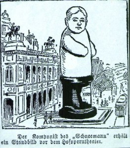 Caricature of Erich Wolfgang Korngold 1910 outside of the Imperial Opera as 'The Snowman'