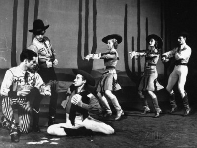 Michael Kidd and John Kriza with Others in American Ballet Theater Production of 'Billy the Kid' photo from Life Magazine, 1944
