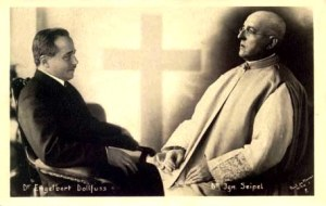 A propaganda image created to imply that the Austro-Fascist Dictator was in fact the mere continuation of the late Chancellor Cardinal Seipel