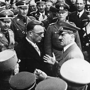 Hitler confers with his 'mole' Seyss-Inquart following Austria's annexation