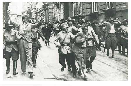Nazis attempting the overthrow of the Dollfuß regime capture broadcasters at Austrian Radio RAVAG in the Johannes Gasse, in Vienna's First District.